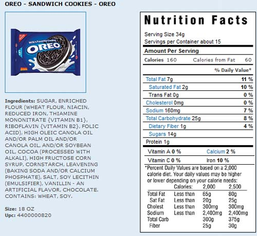 Golden Oreo Nutrition Label